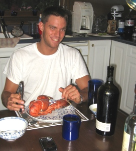 Rib Boy eating lobster.